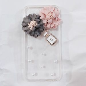 iPhone 6 Luxury Pink Gray Floral Pearls Clear Case